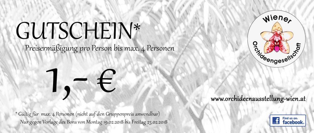 Gutschein über einen Euro auf der Internationalen Orchideenausstellung Hirschstetten